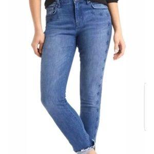 Gap Distressed Hem Star Print Skinny Ankle Jeans